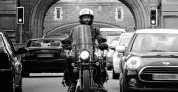 Lane Splitting Motorcycle in Traffic